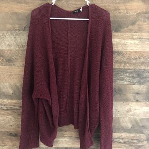 Large BDG Open Front Maroon Cardigan Sweater